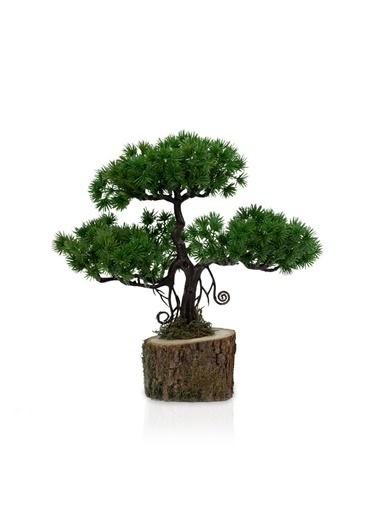 Çiçekmisin Doğal Kütük Saksıda Yapay Çam Ağacı Yeşil